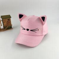 帽子女夏天遮阳可爱猫脸棒球帽韩版猫耳朵帽子休闲百搭亲子鸭舌帽