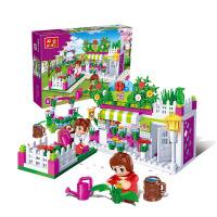 男孩邦宝积木塑料拼装插城市 女孩礼物5-6岁以上兼容乐高兼容乐高积木玩具婴儿玩具 鲜花店6116