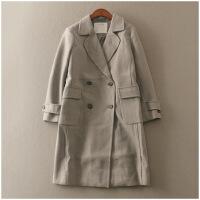 呢子大衣冬气质百搭修身中长款毛呢风衣外套女 24298