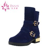 Daphne/达芙妮秋冬款皮带扣中筒时尚马丁靴1014607171
