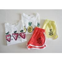 宝宝多吃水果和蔬菜哦 夏季女童背心+短裤两件套 萌萌滴运动套装