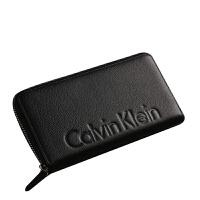 CK钱包男长款正品CalvinKlein时尚青年拉链真皮长款黑色手拿钱包79474