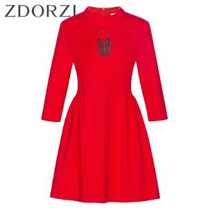 zdorzi卓多姿修身镂空纯色七分袖纯色连衣裙女832033