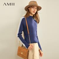 【券后�A估�r:98元】Amii慵�斜】钺��衫女2020年秋季新款修身半高�I外穿毛衣�纱┥弦�