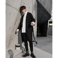 男士毛呢外套男中长款韩版双面呢子大衣西装领风衣男