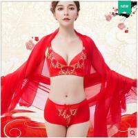 拉丝复古气质花朵性感聚拢小胸无钢圈文胸调整型胸罩新娘本命年红色内衣套装女