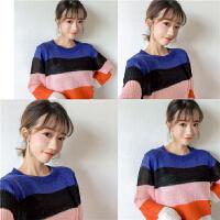 2018春装韩版新款学院风彩虹条纹拼色针织衫套头圆领毛衣学生女