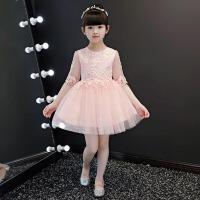 儿童晚礼服蓬蓬裙演出服 粉色女童礼服连衣裙生日宴会主持人舞台