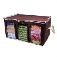 竹炭可�三格三�T衣物收�{箱 �纫率占{盒棉被子衣物收�{袋可�整理箱 65L