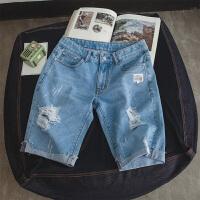 薄款牛仔裤男直筒马裤5分裤子男士牛仔短裤男夏季五分裤休闲中裤 浅蓝色
