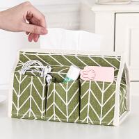 桌面收纳盒 棉麻布艺纸巾盒2019新款田园风多功能纸巾抽纸巾套桌面杂物收纳盒