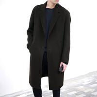 冬季韩版双面羊绒呢子大衣男中长款毛呢外套落肩呢大衣风衣男装 黑色 M