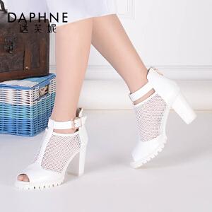 Daphne/达芙妮女鞋 春时尚舒适潮流高跟渔网布镂空鱼嘴女单鞋