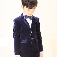 主持人钢琴演出服秋冬季 男童西装套装加厚儿童礼服花童小男孩西服