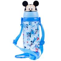迪士尼(Disney)按键背带水壶 宝宝卡通吸管杯 儿童水杯/小学生水壶 买就送吸管刷