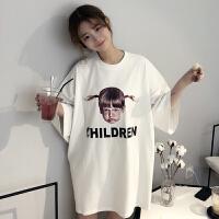 春季女装韩版原宿风中长款女孩印花宽松短袖T恤学生打底衫上衣潮