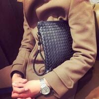 男士手拿包男包包包潮流新款韩版手工编织时尚休闲手拎包潮