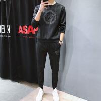 休闲卫衣套装男士春秋季韩版潮流帅气运动两件套宽松圆领套头上衣