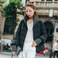 学生短款羽绒服女新款冬装韩版拼接针织外套 AQ5031黑色