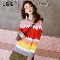 七格格 彩虹条纹针织衫2017秋装新款韩版宽松套头圆领撞色外穿长袖上衣女