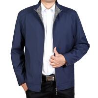 男装秋装中年男士外套薄款夹克立领中老年爸爸装秋季茄克衫