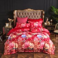 欧式提花四件套棉床上用品4件套婚庆床品大红双人1.8m米床