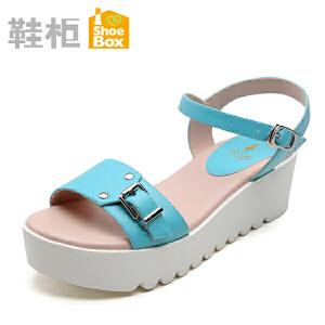 达芙妮旗下shoebox鞋柜夏季松糕凉鞋 一字式扣带中跟防水台女鞋子