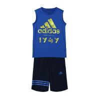 【7.18开抢 满100减20 满279减100】adidas阿迪达斯男童套装2018新款透气休闲运动服CW0415