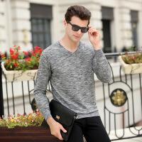 2017秋季新款男式T恤免烫v领套头男装时尚男士T恤中年羊毛衫批发