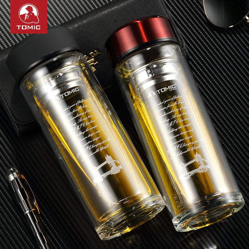 特美刻双层玻璃杯男女便携商务水杯创意带盖过滤杯子耐热办公茶杯