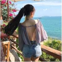 夏装韩版学院风性感透视露背灯笼袖雪纺衫宽松一字领露肩上衣女