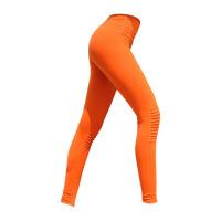 运动健身紧身裤女高腰裤显瘦褶皱瑜伽裤弹力速干透气跑步裤