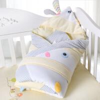 婴儿包被新生儿抱被秋冬纯棉加厚可脱胆抱被立体卡通抱毯宝宝包巾 天蓝色