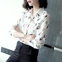【活动速抢】职业雪纺羽毛白底设计感小众长袖衬衫上衣女 2019早春新款衬衫