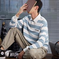 [2.5折价79元]唐狮2019秋季新款长袖T恤男青少年条纹翻领纯棉港风打底衫学生潮