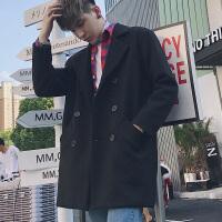 韩国呢子大衣男中长款日系宽松风衣青年毛呢大衣妮子外套潮加厚冬 黑色 M