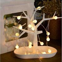 LED彩灯闪灯串灯户外满天星婚庆装饰灯圣诞灯酒吧小彩灯 圆球电池款4米 暖白色