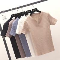 针织短袖T恤女 2018春装新款韩版紧身显瘦百搭V领上衣黑色打底衫