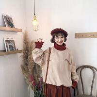 秋冬女装韩版学院风宽松加厚撞色毛线高领套头呢子卫衣外套学生潮