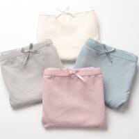4条日系内裤女纯棉低腰舒适棉质面料无痕蕾丝边三角裤纯色有大码