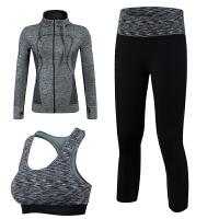秋冬瑜伽服三套装女 运动文胸修身显瘦舞蹈跑步健身房运动外套 黑色 M