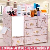 木质带镜子化妆品梳妆盒 大号木制桌面整理化妆品收纳盒抽屉