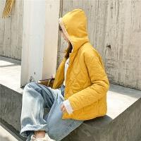 七格格时尚冬季外套女2019新款韩版宽松学生连帽短款轻薄棉衣