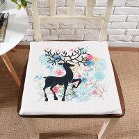 手绘插画花卉动物创意棉麻布艺坐垫餐桌椅垫学生凳子垫