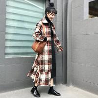 秋冬女装2017新款日系甜美鱼尾荷叶边长款呢子大衣格子外套学生潮