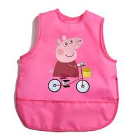 宝宝吃饭罩衣防水夏天薄款无袖透气婴幼儿围裙反穿衣儿童吃饭围兜 鲜粉红 粉色小猪妹