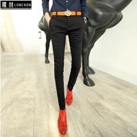 秋冬季韩版男士修身型格子加绒保暖休闲西裤发型师裤子紧身小西装 黑色 常规