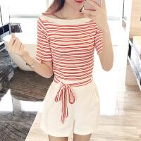 夏季小香风短裤套装女夏2018新款韩版时尚洋气显瘦名媛休闲两件套 红白 【两件套】