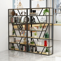 铁艺实木隔断置物架办公室落地书架客厅装饰简约屏风玄关柜