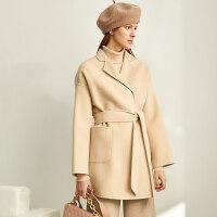 【券后价:634元】Amii赫本风小个子毛呢大衣女秋冬新款系带中长款羊毛双面呢子外套